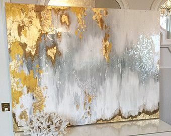 """Sold!! Acrylic Abstract Art Large Canvas Painting Gray, Silver, Gold Ikat Ombre Glitter with Glass and Resin Coat 36"""" x 48"""" real gold leaf"""