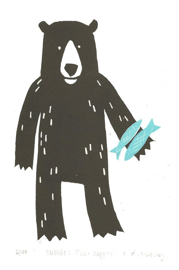Brown bear lino print by ruthbroadway on Etsy- hand-carved, hand-printed