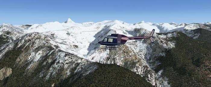 Flight Simulator dans les Rocheuses.