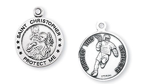 "Lacrosse Round Sterling Silver Boys or Mens St. Christopher Sport Medals, Patron Saint of Travelerswith 24"" Chain HMH001 http://www.amazon.com/dp/B00T4WDHLO/ref=cm_sw_r_pi_dp_twsnvb0X8XXEH"