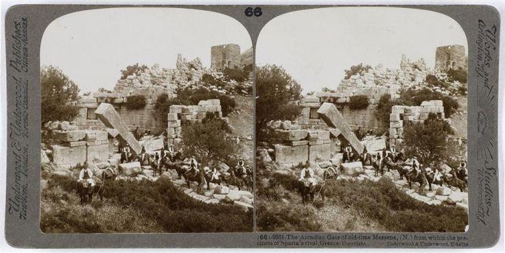 The Arcadian Gate of old-time Messene from within the precincts of Sparta's rival, Greece. Ο αρχαιολογικός χώρος. Μεσσήνη, 1903 Underwood & Underwood