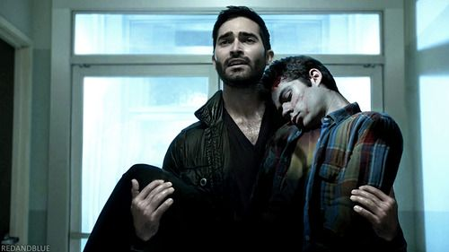 Teen Wolf ... Tyler Hoechlin and Dylan O'Brien as Derek and Stiles