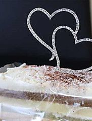 1Pcs++Romantic+Crystal+Rhinestone+Silver+Double+Heart+Cake+Topper+Wedding+Decoration+–+USD+$+5.70