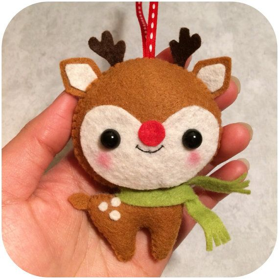 Rudolph the Reindeer Felt Christmas Ornament by pinkTopic on Etsy