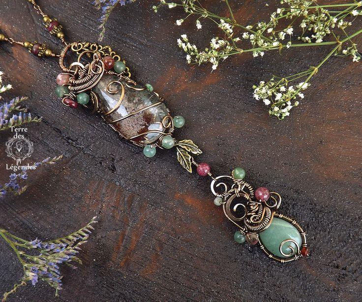 Collier majestueux double wire en lodolite et aventurine, tourmaline, feuille . ᘛ Prisme des âmes jumelles ᘚ : Collier par terre-des-legendes