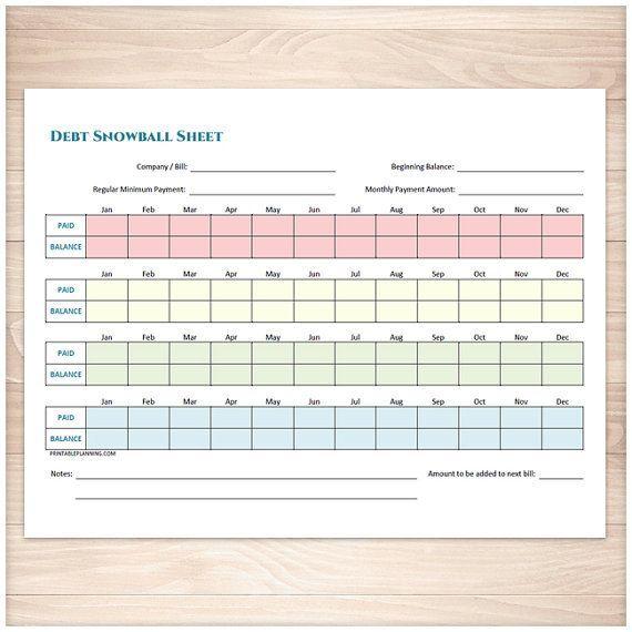 Printable Debt Snowball Sheet and Debt Payoff Plan - Printable