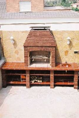 Asador de ladrillo patio pinterest patios backyard - Hacer parrilla para barbacoa ...