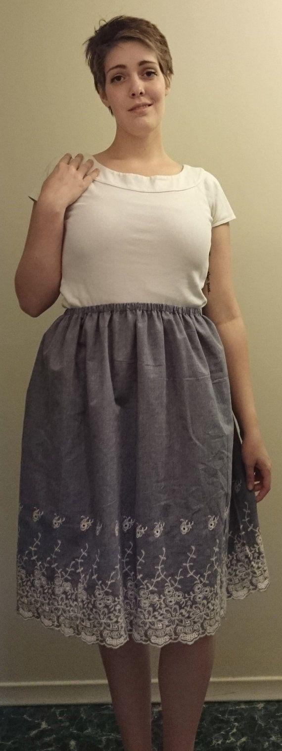 "Plain Jane Cotton Elastic Waistband Skirt- $20.00 100% Cotton Fits Waists 30""-38"""