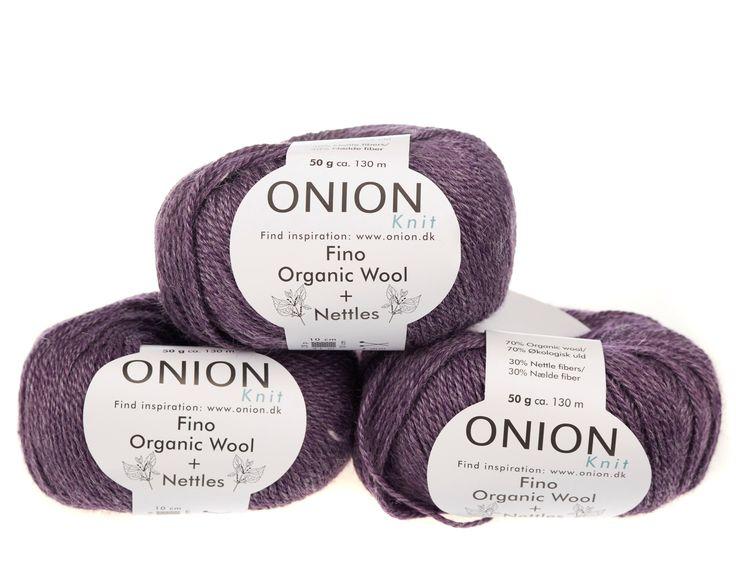 Mørk lilla V812 - No. 4 - Fin økologisk uld med nældefibre - Onion - Strikkepinden - Nøgler á 50 gram