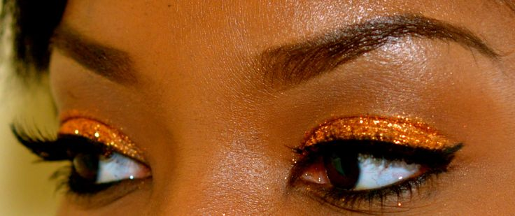 Glittery Thanksgiving Inspired Makeup. This would be good for Clemson Tigers game day  makeup too