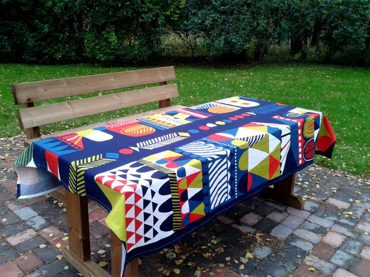 Modern tablecloth made from Marimekko fabric, Scandinavian design, Blue long rectangle designer table cloth by NordicCrafter on Etsy https://www.etsy.com/listing/206506228/modern-tablecloth-made-from-marimekko