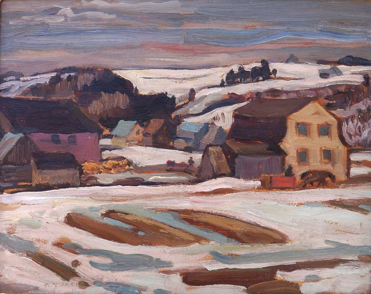 """Valley Farm, St. Tite des Caps,"" Alexander Young Jackson, ca. 1933, oil on panel, 8.5 x 10.5"", private collection."