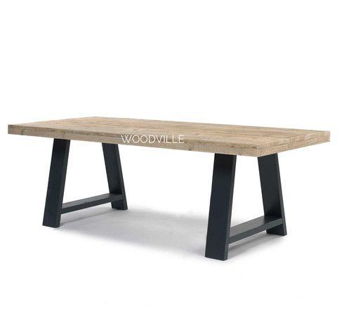 Tafel Hero | Houten A poten antraciet kleur | Steigerhouten blad | reclamied wood table | Woodville.nl