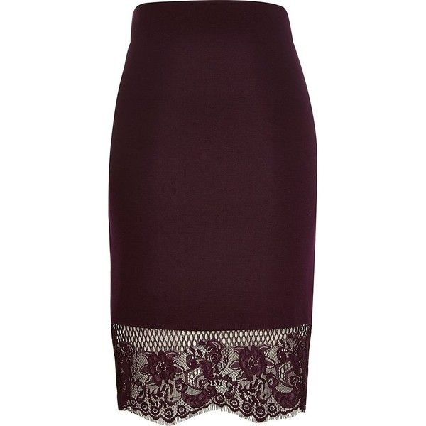 River Island Dark red lace hem pencil skirt ($50) ❤ liked on Polyvore featuring skirts, bottoms, red, tube / pencil skirts, women, tall skirts, river island, red pencil skirt, red skirt and lace skirt