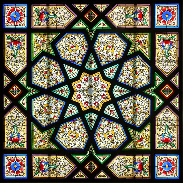 Barcelona stained glass window inspired by Islamic Arts