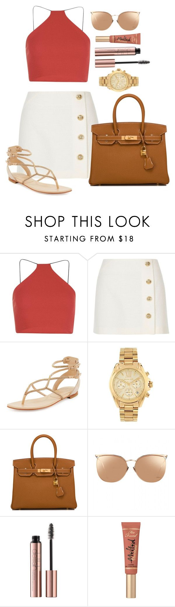 """Untitled #1574"" by fabianarveloc on Polyvore featuring Boohoo, River Island, Lola Cruz, Michael Kors, Hermès, Linda Farrow and Too Faced Cosmetics"