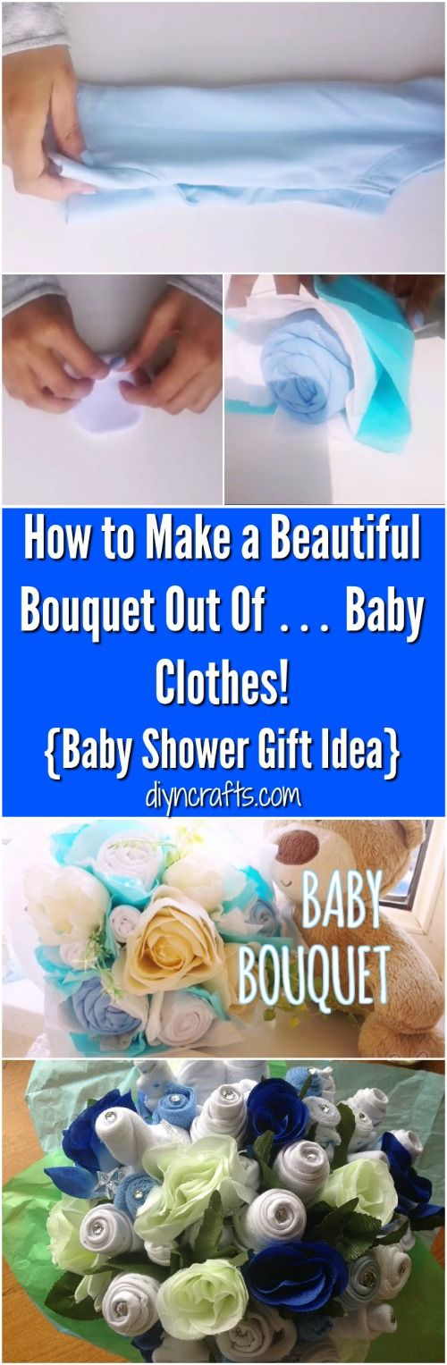 How to Make a Beautiful Bouquet Out Of … Baby Clothes! {Baby Shower Gift Idea} - Really easy tutorial on how to create the perfect baby shower gift! via @vanessacrafting