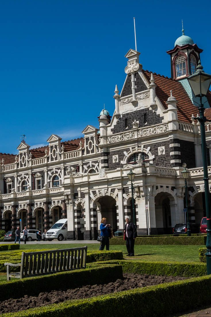 The Dunedin, New Zealand railway station (also called the Gingerbread House) - the starting point for the Taieri Gorge scenic railway excursion.