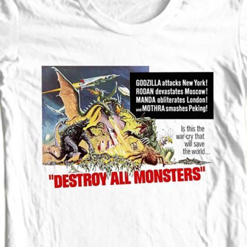 Destroy-all-monsters-t-shirt-vintage-old-Godzilla-sci-fi-film-free-shipping