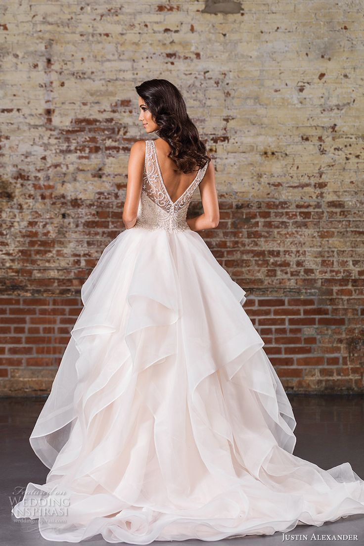 justin alexander spring 2017 bridal sleeveless illusion bateau sweetheart neckline heavily embellished tiered layered a  line wedding dress v back chapel train (9847) bv