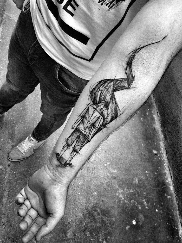 Les tatouages en forme desquisse de Inez Janiak  2Tout2Rien