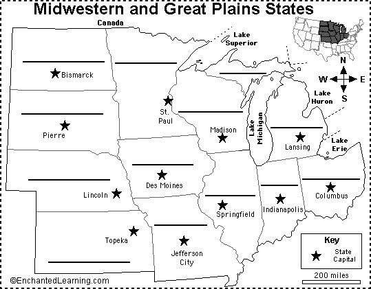 midwest map with capitals | Label Midwestern US States Printout ...