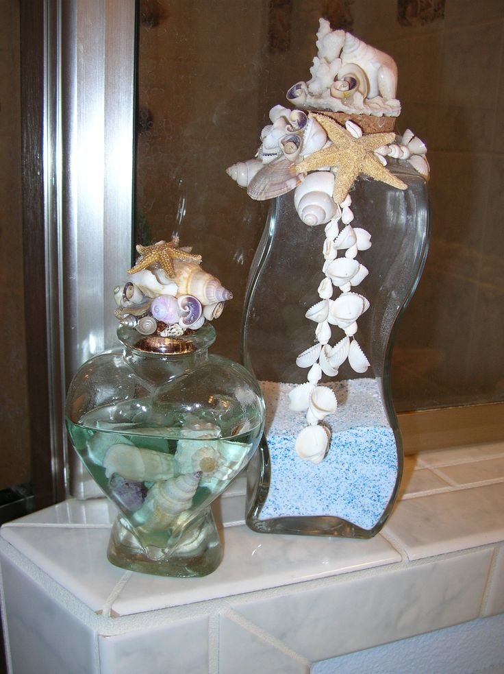 107 best images about sea shells sand in vases on for Bathroom decor vases