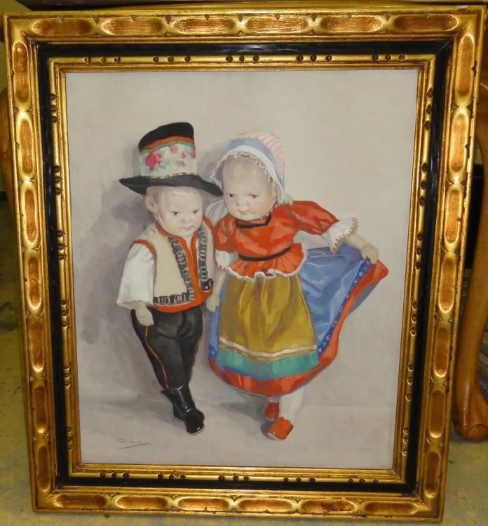 "Untilted. Depicts dolls in Hungarian  traditional dress. Oil on canvas. Signed  lower right.  Sight  H: 24"" W: 19.5""."