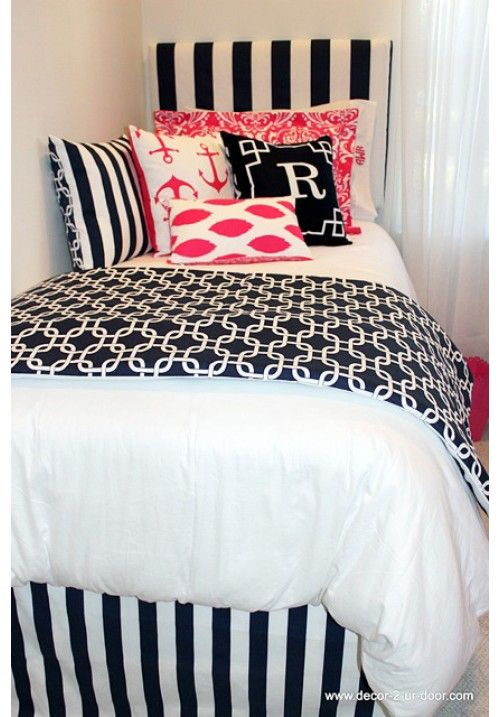 Nautical Navy & Preppy Pink Designer Dorm Bedding Set  UX  ~ 053605_Nautical Dorm Room Ideas