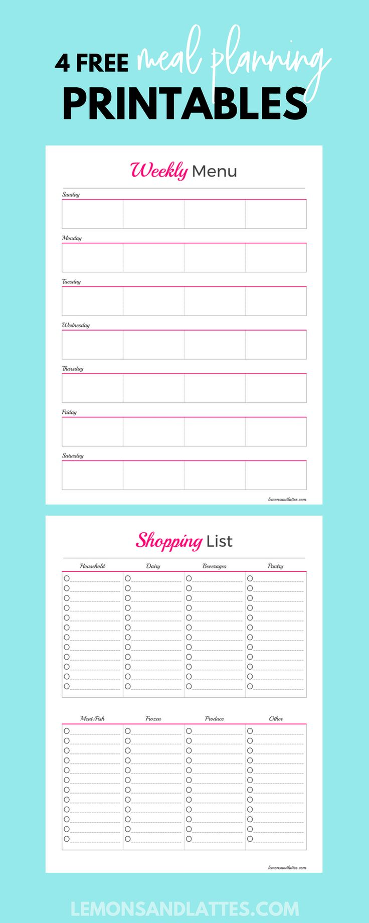 The 25 best grocery list templates ideas on pinterest for Monthly meal planner template with grocery list