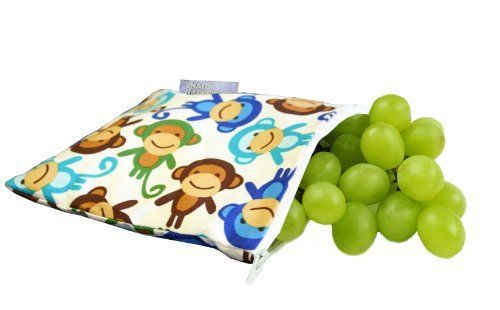 Itzy Ritzy Snack Happens Reusable Snack Bag, Funky Monkey Remix (814652012492) Reusable, machine washable bags for snacks, sandwiches, fruit, school lunches, mini first aid kits, cell phones, car and plane trips, crayons, toiletries, iPods, cameras, hiking, camping, travel, beach gear and more FDA approved; BPA free; Lead free; PVC free Measured 7'' by 7'' Funky monkey remix is a unisex monkey character pattern Machine wash in cold water with like colors, no bleach, line dry recommended