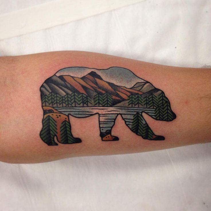 "Bear Tattoo with nature/ nature  design inside by @aj_tattoo   @wa_ink_tattoo"""