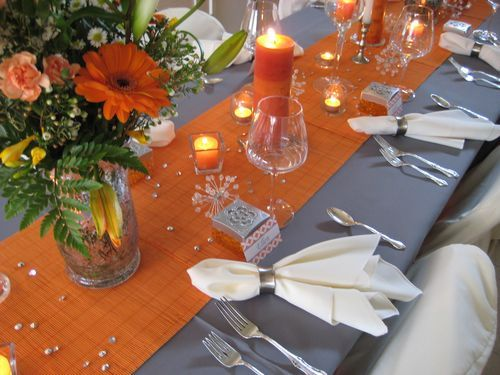 Orange Table Runners With Grey Table Cloths! Perfect For A Fall Wedding