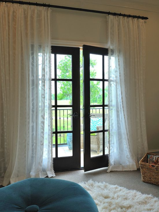 Windows, Exciting Patio Door Window Treatments With Glass Door And White  Curtain Also Wall To Wall Carpeting And Fur Rug Also Blue Pouffe: The Most  ...