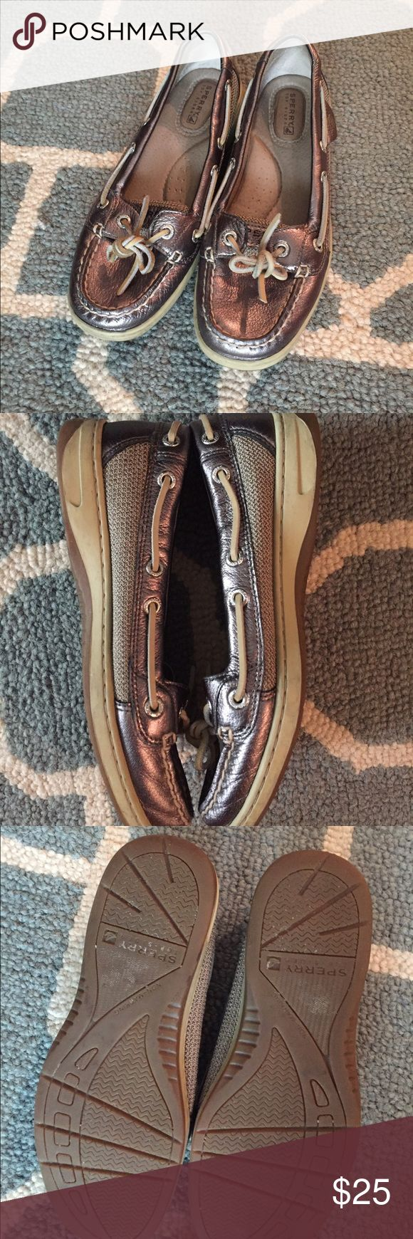 👯weekend sale! 👯 Glam-casual pewter sperrys This weekend sale is no joke! Price goes back on Monday! These sperrys are a gorgeous pewter--a lovely mix between gold and silver. I've only worn these a handful of times and I hate to see them go....stupid upcoming tax day 😕! They're PERFECT for Fall. Size 6.5 Sperry Shoes Flats & Loafers