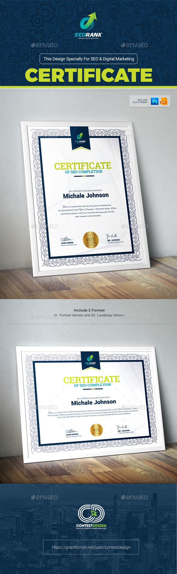 Certificate of Completion for SEO (Search Engine Optimization) & Digital Marketing Agency / Company