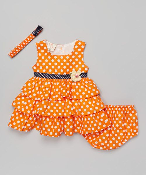 Look at this sissymini Orange & White Polka Dot Dress & Diaper Cover - Infant on #zulily today!