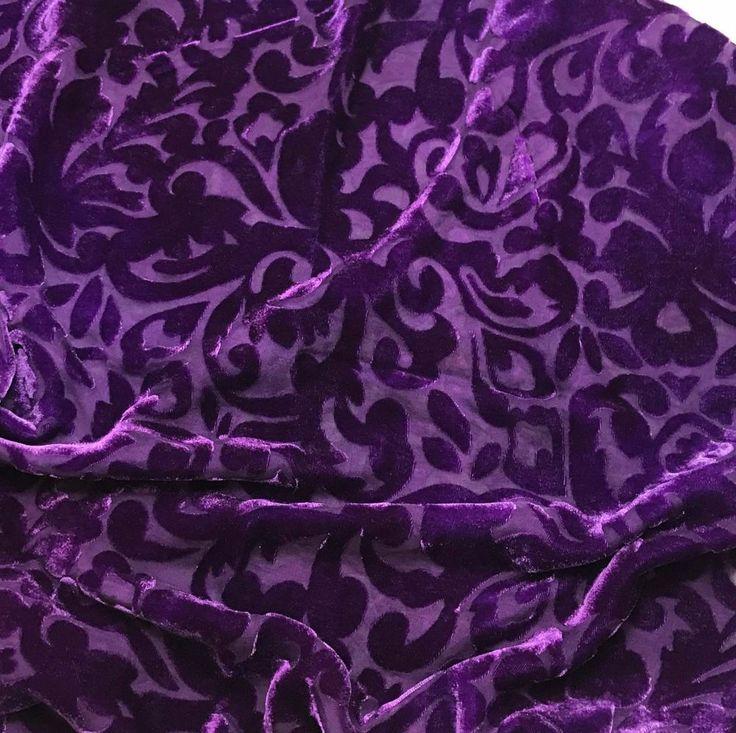 Burnout Silk VELVET Fabric ROYAL PURPLE