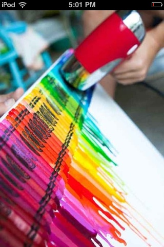 So cool! Get a canvas, crayons, put the crayons on the canvas and blow dry the tips!
