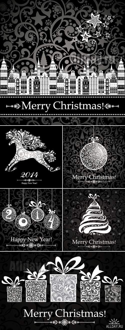 Black Christmas Backgrounds Vector
