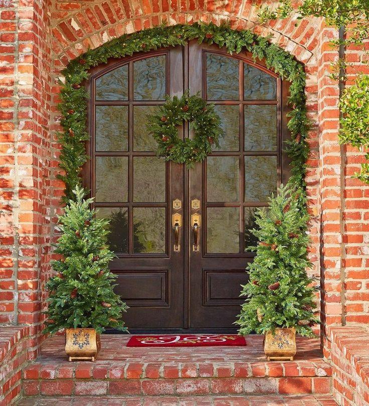 "Pre Lit Christmas Decoration Set 2 Garland 2 Topiary Trees 24"" Wreath 5 pc Set #MembersMark"