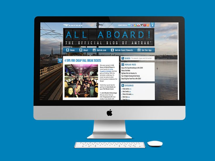 Amtrak Blog es donde los viajeros comparten experiencias de viaje en tren y sus comodidades, entre otras. Se hizo el diseño de la página web en WordPress.  Año 2013.