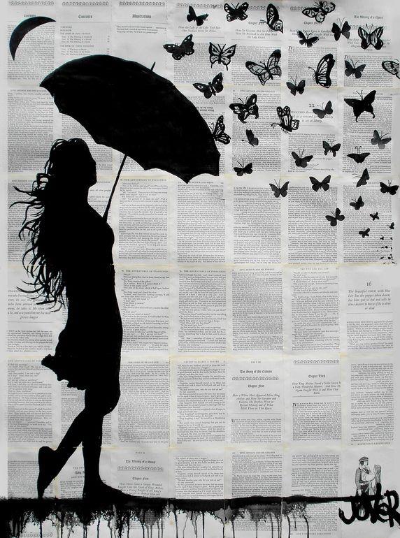 "Saatchi Art Artist: Loui Jover; Ink 2013 Drawing ""butterfly rain"""