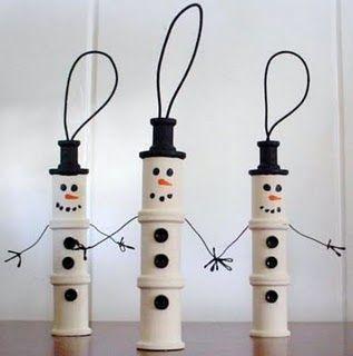 Spool Snowman Ornament: Thread Spools, Snowmen Ornaments, Snowman Ornaments, Christmas Crafts, Crafts Ideas, Wooden Spools, Christmas Ornaments, Spools Snowmen, Christmas Gifts