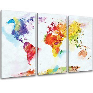 XXL Kunstdruck - 3-teilig Wand Bilder bunte Weltkarte auf Leinwand im Aquarell Design Format 120x80cm - fertig auf Keilrahmen: Amazon.de: Küche & Haushalt