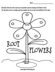 Root Flowers free printable to use when learning Greek/Latin roots