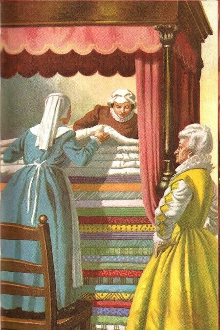 The Queen Ruben piled 20 feather beds on top of the 20 mattresses - The Princess And The Pea..