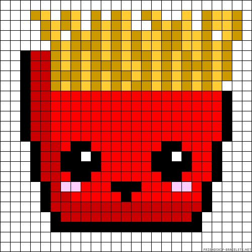 Kawaii French Fries perler bead pattern