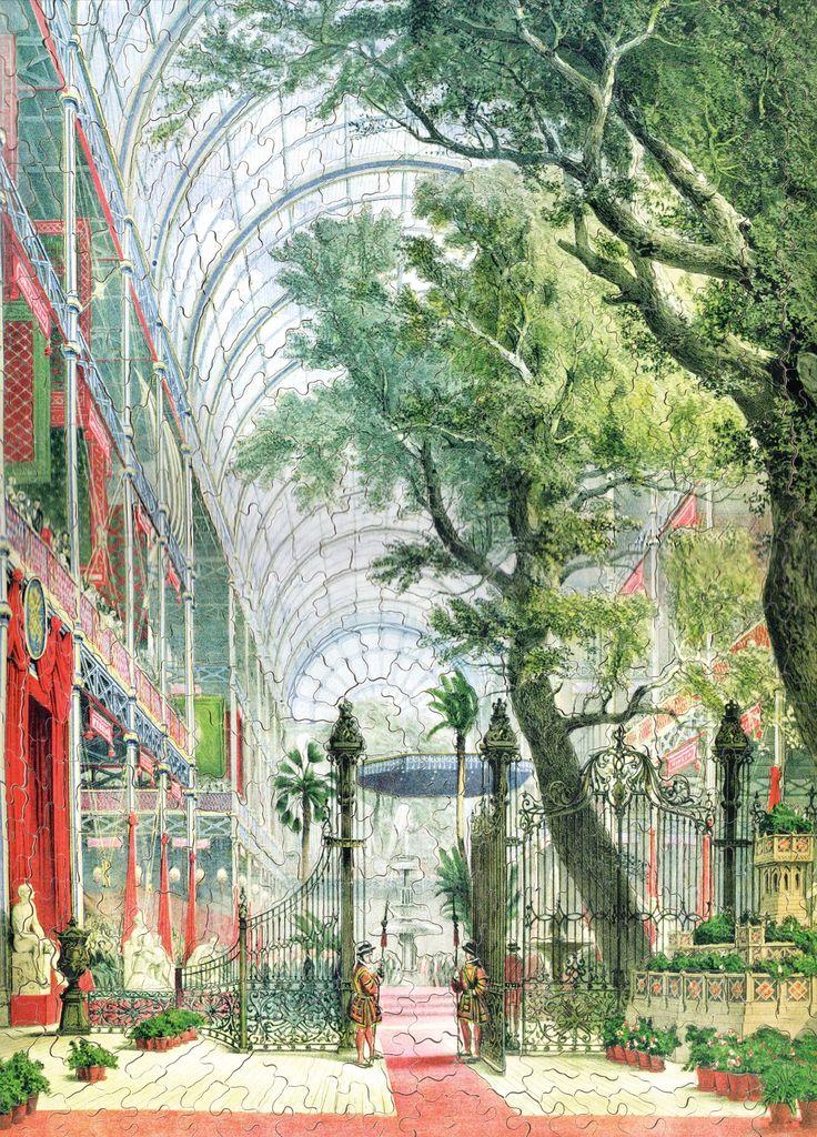 Cette lithographie montre le Crystal Palace lors de la première exposition universelle qui accueillit 6 millions de visiteurs à Londres en 1851. Elle est représentative du style de Joseph Nash, aquarelliste et graveur anglais qui réalisa de nombreux dessins de l'intérieur des manoirs anglais et de leurs habitants.   Dimensions : 32 x 42 cm (environ)
