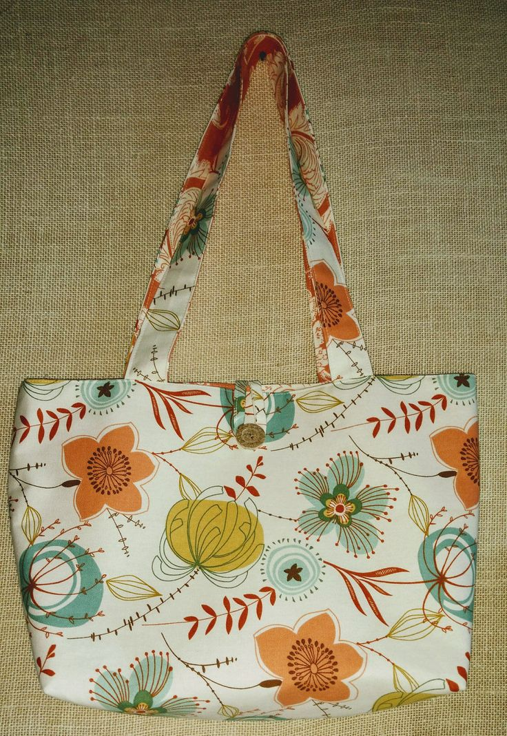 Floral Reversible Tote Bag Peach Floral Tote Bag Peach and Cream Tote Bag Floral  Tote Bag Peach with Turquoise Floral Tote Bag by TheBrickCottage on Etsy